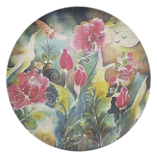 Elegant Garden of Flowers Plate