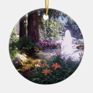 Elegant Garden Scene with Water Fountain Round Ceramic Decoration