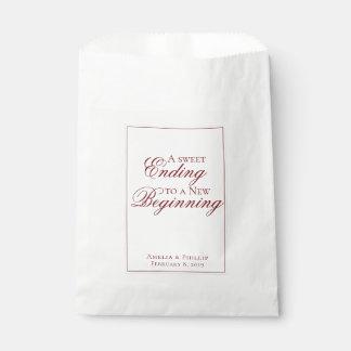 Elegant Garnet Red and White Wedding Favor Bag