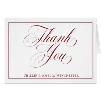 Elegant Garnet Red and White Wedding Thank You Card