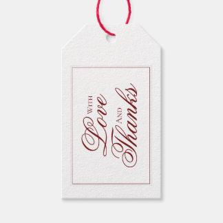 Elegant Garnet Red and White Wedding Thank You Tag