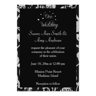 Elegant Gay Black and Silver Wedding Invitation