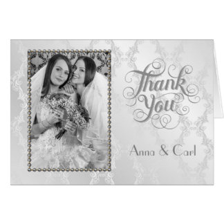 Elegant Gay Silver Wedding Thank You Card