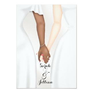 Elegant Gay Wedding Bride Holding Hands Ethnic Card