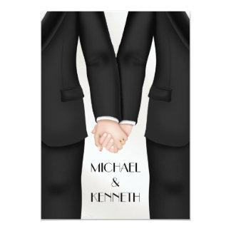 Elegant Gay Wedding Groom Holding Hands Card