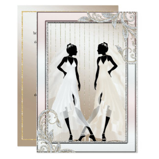Elegant Gay Wedding Invitation with Two Brides