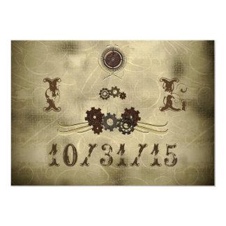 "Elegant Gears Steampunk Wedding Invitations 5"" X 7"" Invitation Card"