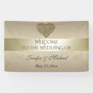 Elegant gentle golden abstract heart wedding banner