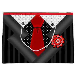 Elegant Gentleman in Black White and Red Large Gift Bag