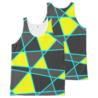 elegant geometric bright neon yellow and mint All-Over print singlet