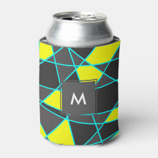 elegant geometric bright neon yellow and mint can cooler