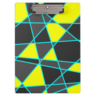 elegant geometric bright neon yellow and mint clipboard
