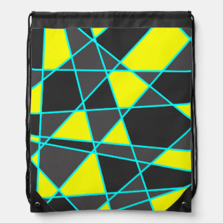 elegant geometric bright neon yellow and mint drawstring bag