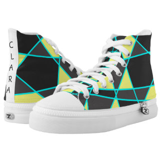 elegant geometric bright neon yellow and mint high tops