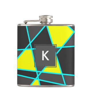 elegant geometric bright neon yellow and mint hip flask