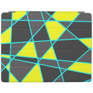 elegant geometric bright neon yellow and mint iPad cover