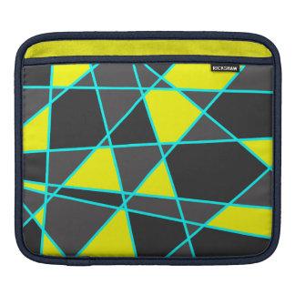 elegant geometric bright neon yellow and mint iPad sleeve