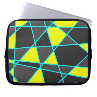 elegant geometric bright neon yellow and mint laptop computer sleeve