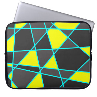elegant geometric bright neon yellow and mint laptop sleeve