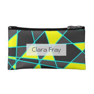 elegant geometric bright neon yellow and mint makeup bag