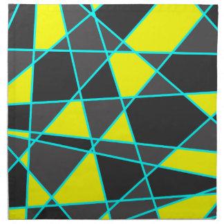 elegant geometric bright neon yellow and mint napkin