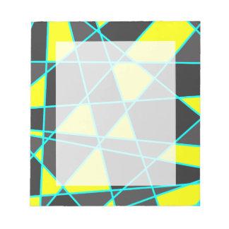elegant geometric bright neon yellow and mint notepad