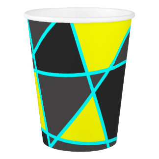 elegant geometric bright neon yellow and mint paper cup