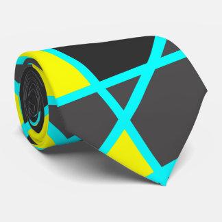 elegant geometric bright neon yellow and mint tie