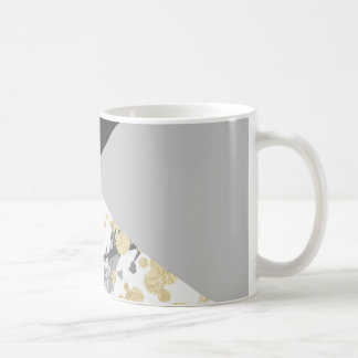 Elegant geometric coral color block gold confetti coffee mug