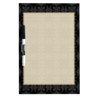 Elegant Geometric Floral in Black and Gray Dry Erase Whiteboards