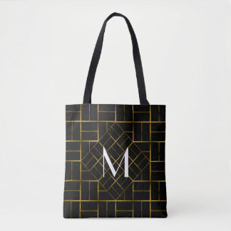 Elegant Geometric Gold Art Deco Pattern  Monogram Tote Bag