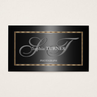 Elegant Geometric Gold Grey Black Custom Monogram Business Card