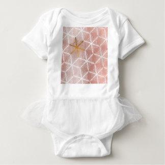Elegant Geometric Gold Snowflakes Holiday Pattern Baby Bodysuit