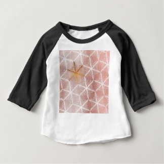 Elegant Geometric Gold Snowflakes Holiday Pattern Baby T-Shirt