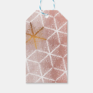 Elegant Geometric Gold Snowflakes Holiday Pattern Gift Tags