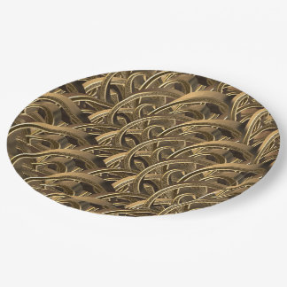 Elegant Geometric Gold Typography Pattern Paper Plate