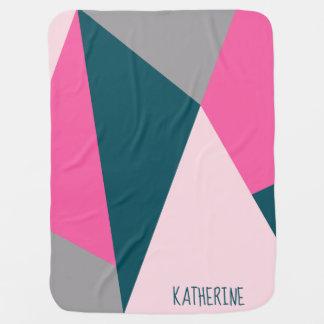 Elegant geometric hot pink emerald green pastel baby blanket