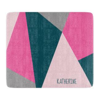 Elegant geometric hot pink emerald green pastel cutting board