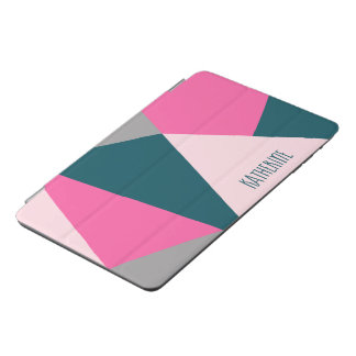 Elegant geometric hot pink emerald green pastel iPad mini cover