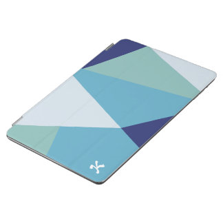 Elegant geometric navy blue and sea green pastel iPad air cover