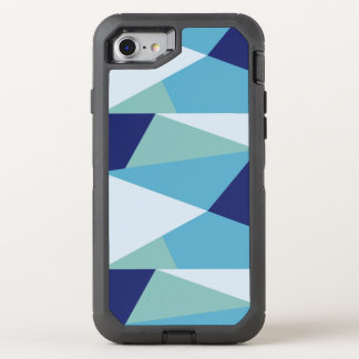 Elegant geometric navy blue and sea green pastel OtterBox defender iPhone 8/7 case