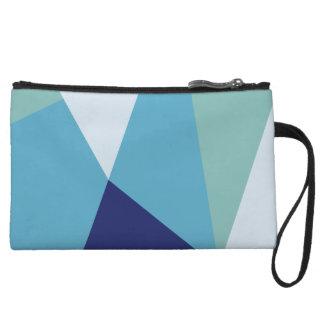 Elegant geometric navy blue and sea green pastel wristlet