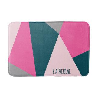 Elegant geometric pastel hot pink emerald green bath mat