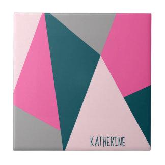 Elegant geometric pastel hot pink emerald green ceramic tile