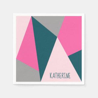Elegant geometric pastel hot pink emerald green disposable serviette