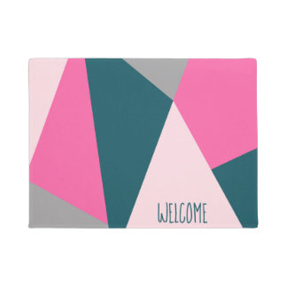 Elegant geometric pastel hot pink emerald green doormat