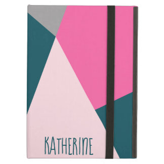Elegant geometric pastel hot pink emerald green iPad air case