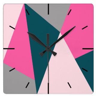 Elegant geometric pastel hot pink emerald green square wall clock