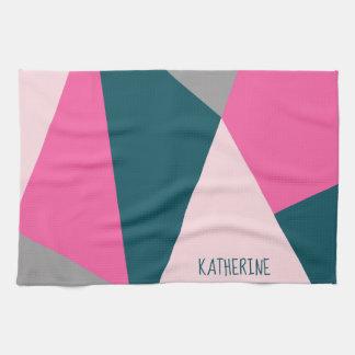 Elegant geometric pastel hot pink emerald green tea towel