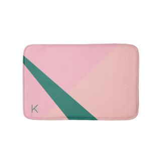 Elegant geometric pastel pink peach green bath mat